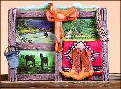 3 Photo Western Picture Frame